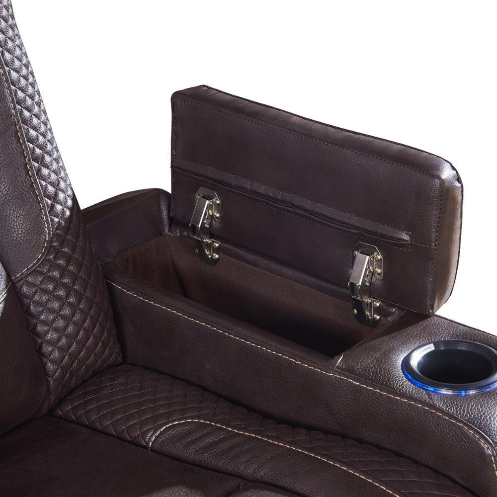3 Seater Brown air Leather Cinema Sofa Couch Lounge with LED light and fold down table
