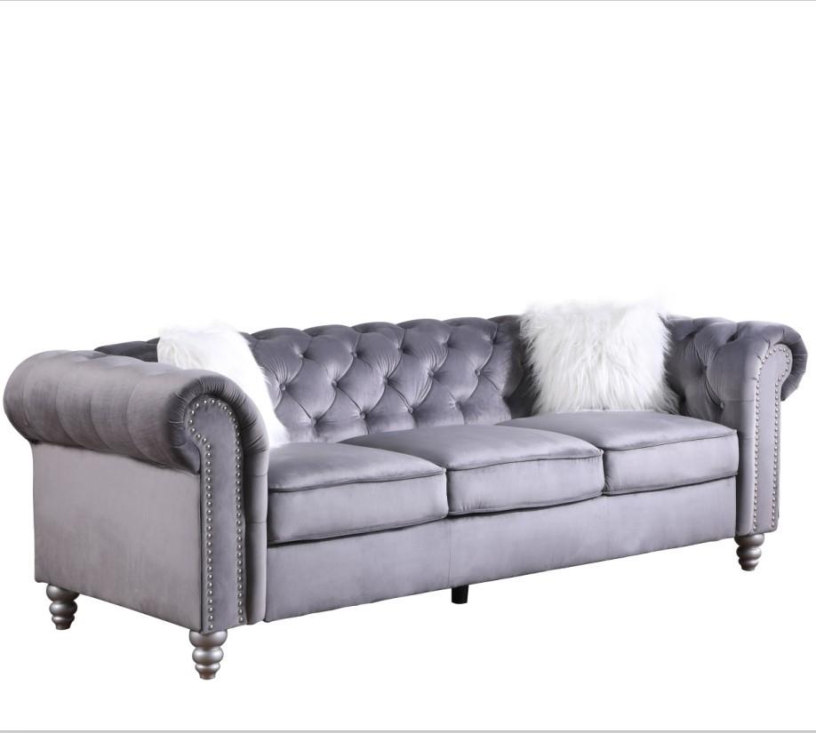 High quality luxurious Grey Velvet fabric 3 seater chesterfield sofa