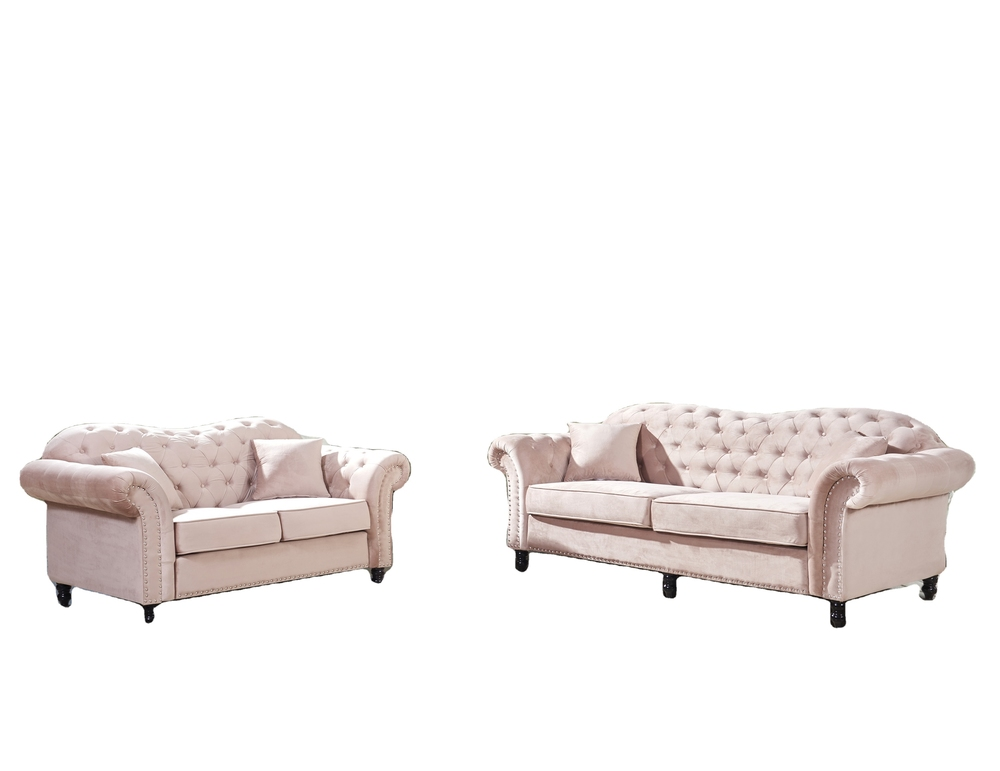 Living room sofas Classic Tufted chesterfield brown velvet fabric Victorian Sofa sets