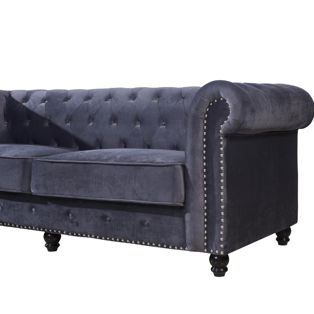 Newest Living room sofas grey velvet fabric chesterfiled sofa 3seat