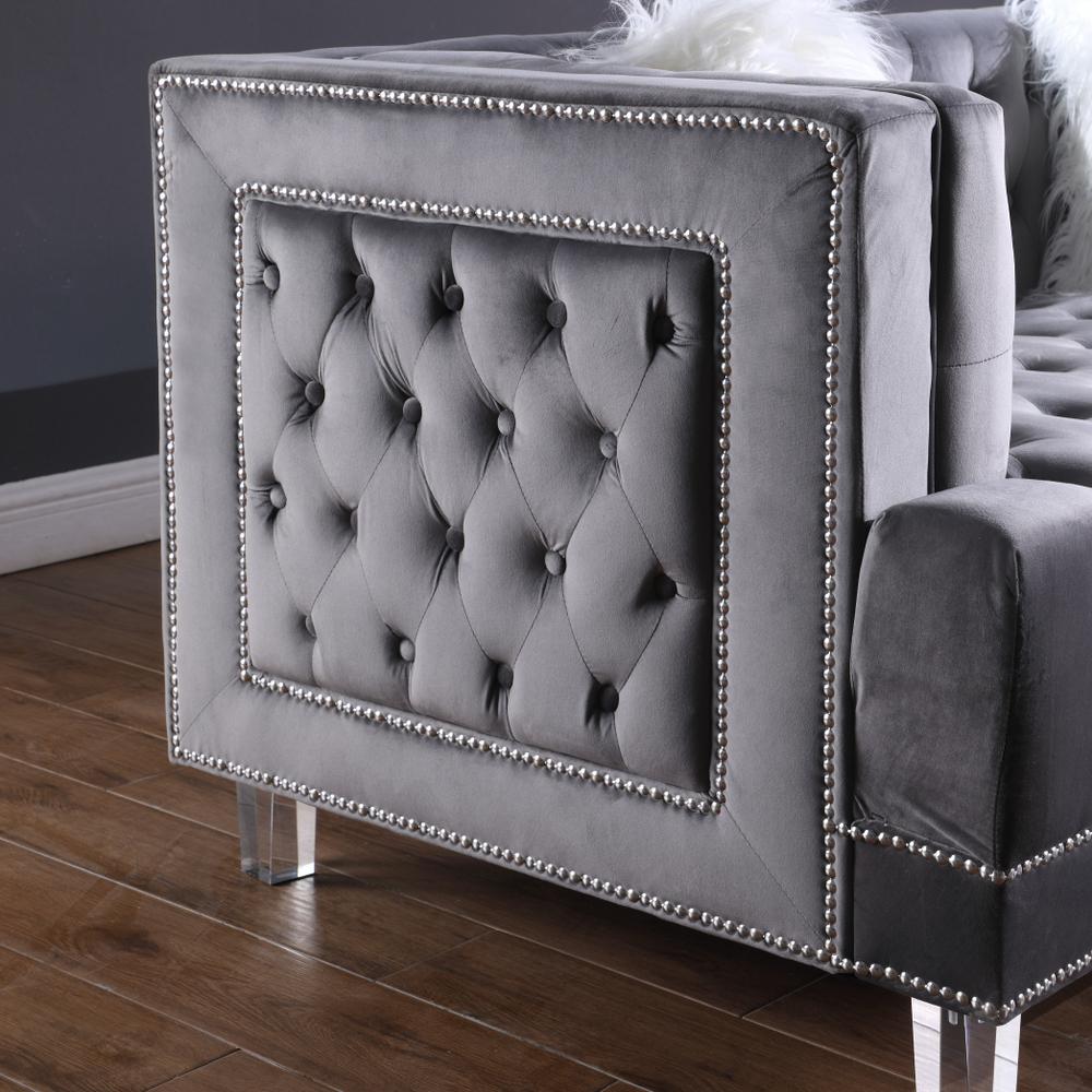 2021 hot selling living room luxury Grey velvet fabricchesterfield sofa