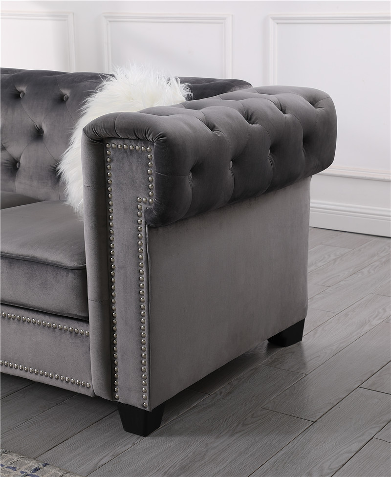 New Silver Grey Modern Crushed Velvet Fabric Chesterfield 3 Seater Sofa