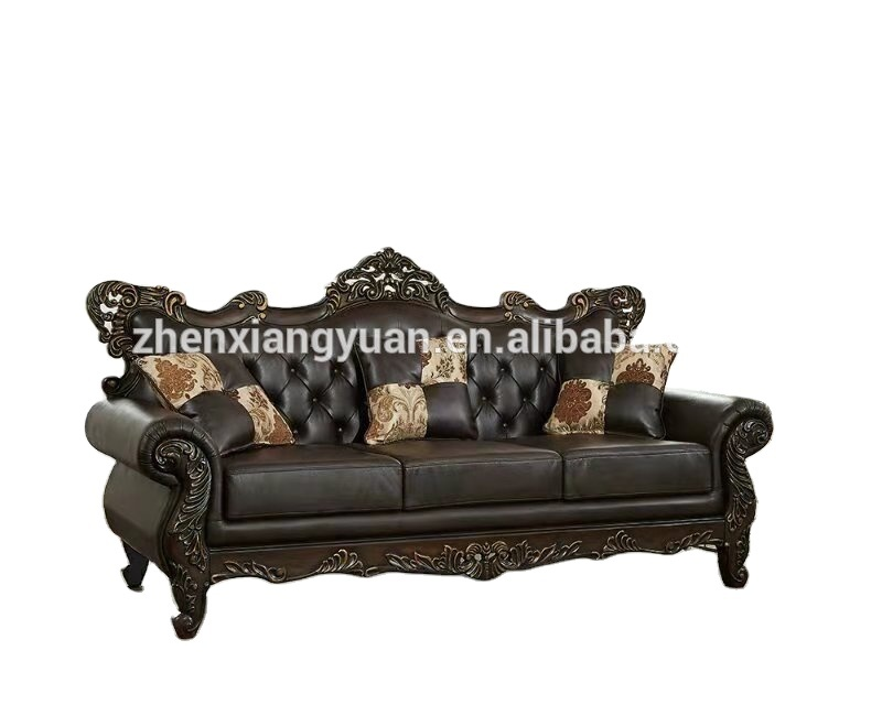 Living Room sofas antique furniture American designswooden craved Style PUleather Sofa Set