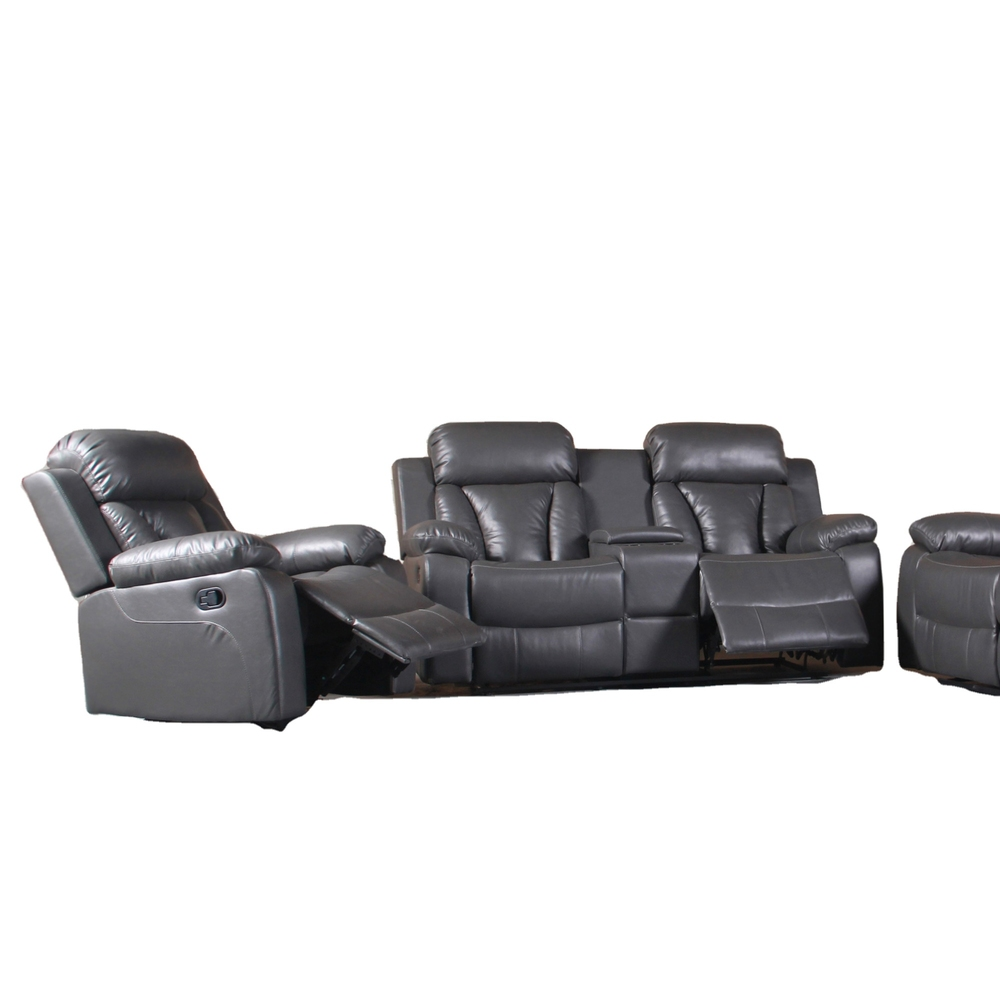 Living Room sofasRecliner FurnitureModern designs grey grain leatherSofa sets with console