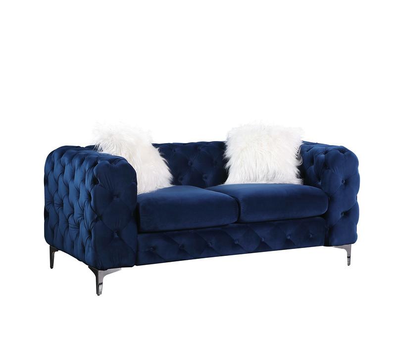 chesterfield sofa velvet fabricblue 2 seat