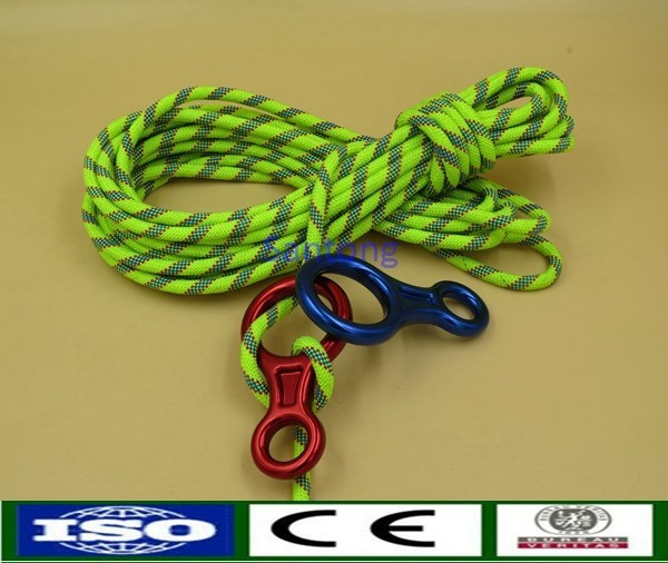 Climbing rope with figure eight fall arrester belay devices descender