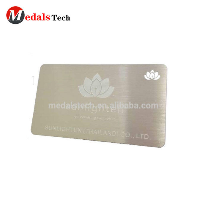 Manufacture wholesale cheap custom stainless steel card with laser logo