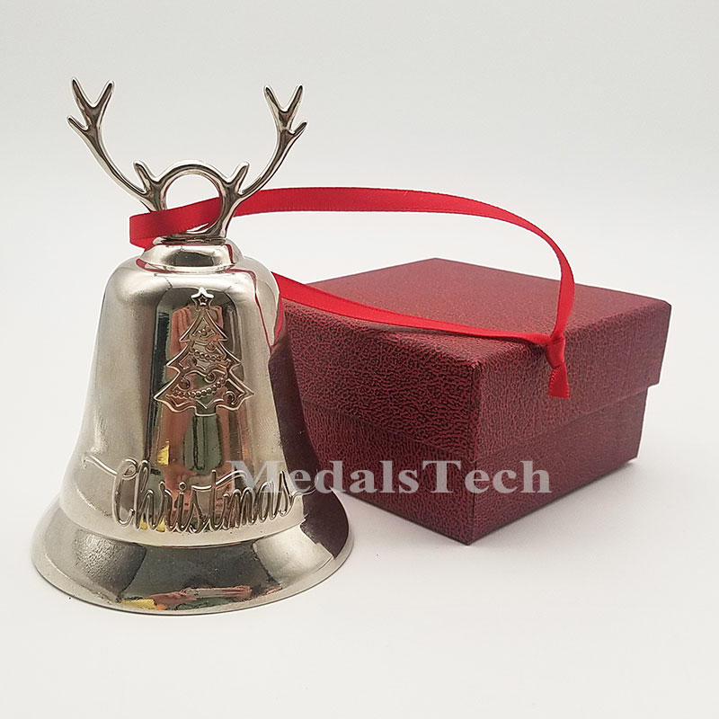 Festival decoration Large size smooth silver plating brass hand Christmas bell for new year gifts