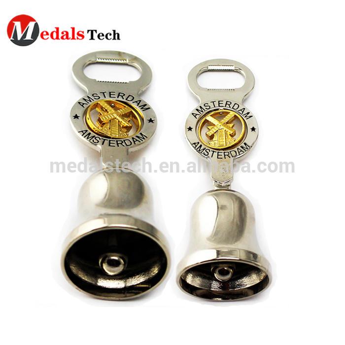 Novelty cool custom design alloy silver rotating beer opener bell for bar