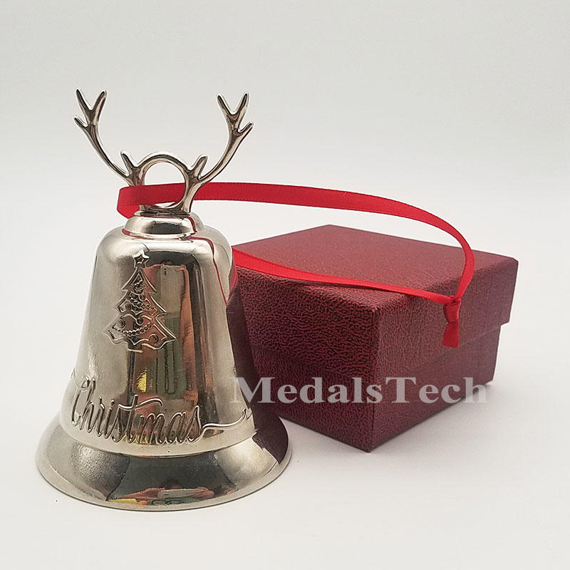 In stock silver gold brass plating metal hand door souvenir metal dinner bell for christmas
