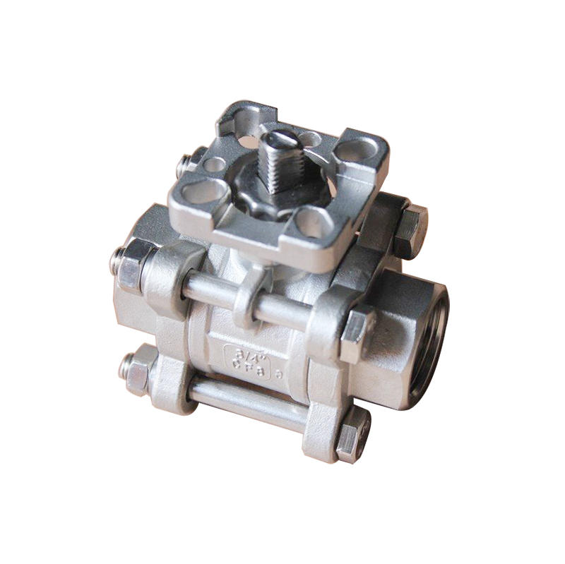 3 PC Stainless Steel 304 1000 WOG High Mounting Pad Carbon Steel Ball Valve