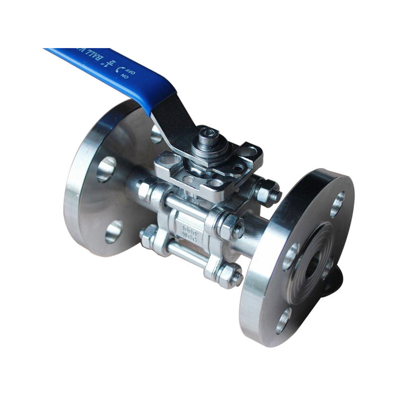 SS304 SS316 CF8 Operation 1000 WOG 3 Pieces Manual Flange Type Handle Control Ball Valve