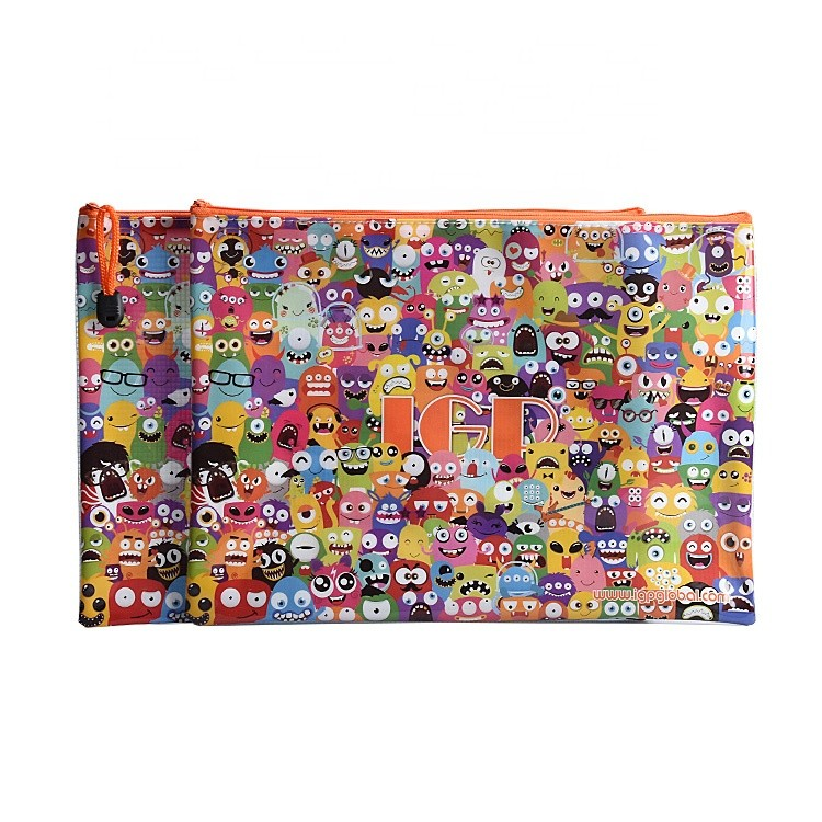 Hot Sale Simple Printing PVC Plastic Material Zipper File Folder Bag