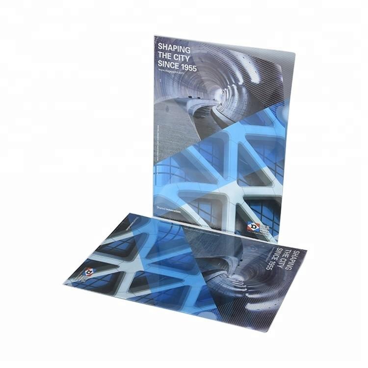 Custom Logo 0.2mm Thickness Transparent Glossy PP Plastic L Shape A4 E310 File Folder