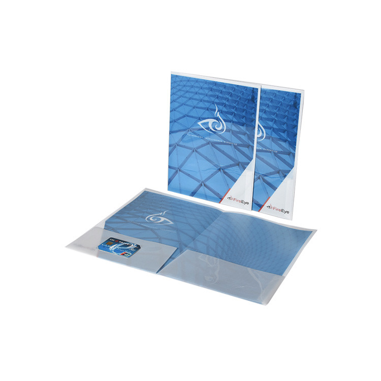 Custom Cover Full Printing Pp Plastic Double Pocket Folder with Business Card Slot