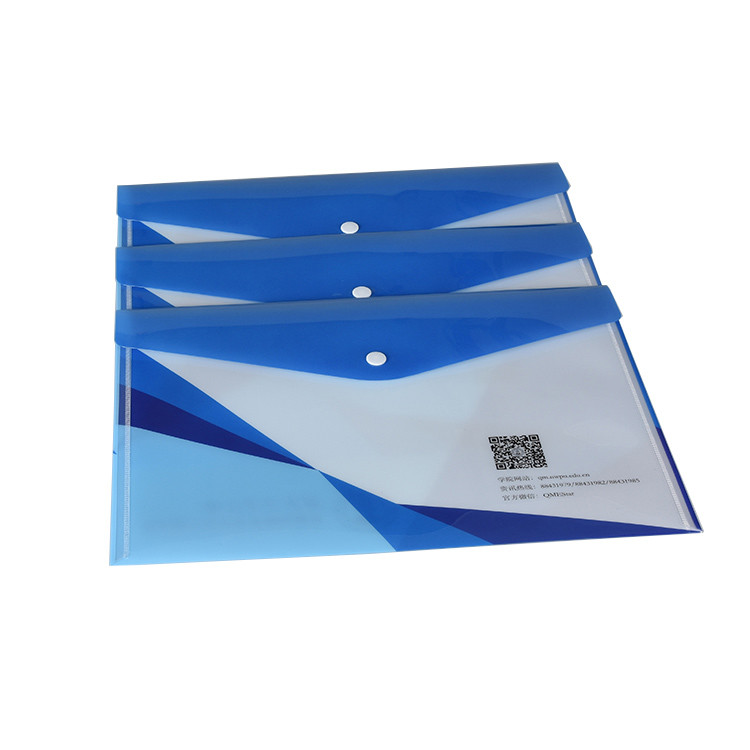 School Office Use Pp Hard Plastic Snap Envelope Document File Folder with Customized Printing