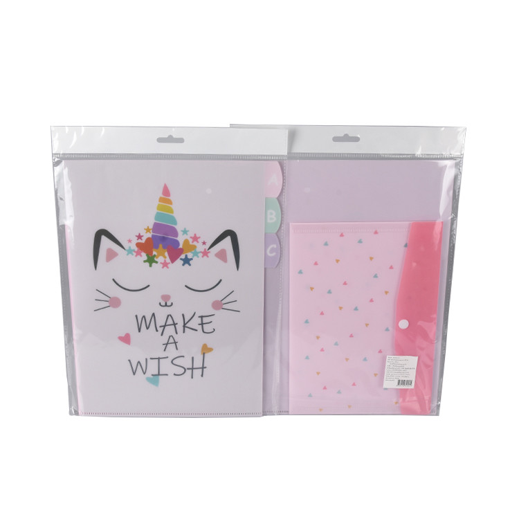 Custom Size High Quality Cute Pink PP Plastic A4 File Folder Set for Student