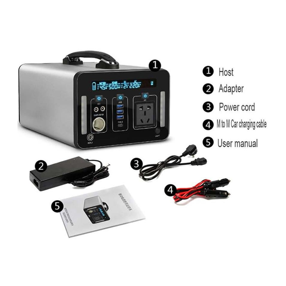 Low price 500Wh large capacity black energy-saving lithium battery outdoor power supply