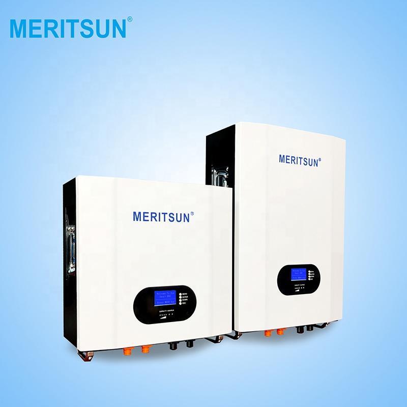 MeritSun LiFePO4 powerwall lithium battery 48V 200ah 10kwh wall power bank for hybrid off grid solar system