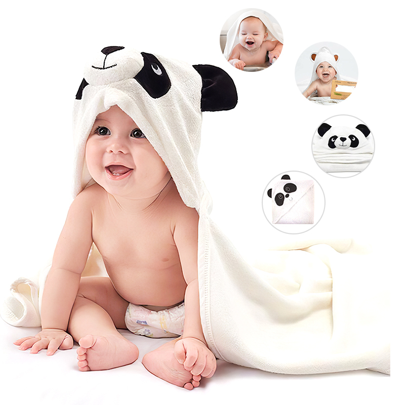 Organic Bamboo Baby Hooded Bath Towel Infant with Animal Bear Ears