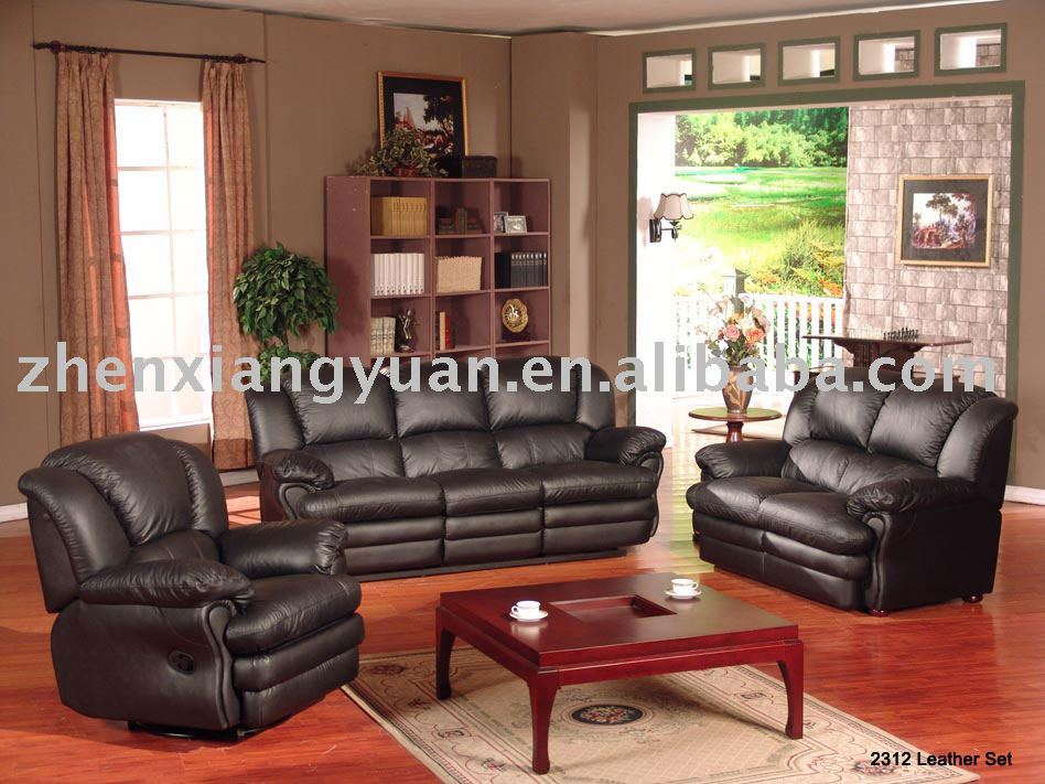 New morden Living room furniture recliner sofa black leather sex luxury sofa sets