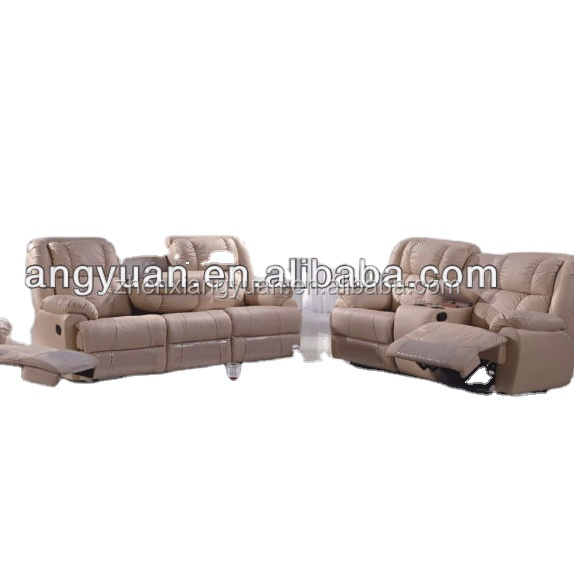 2021 Living Room furnitures Genuine Leather Fully Recliner Sofa sets with coffee table