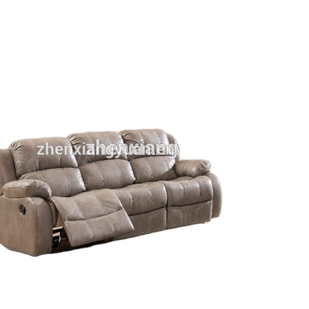 living room products modern leather air fabric gray color recliner sofa set