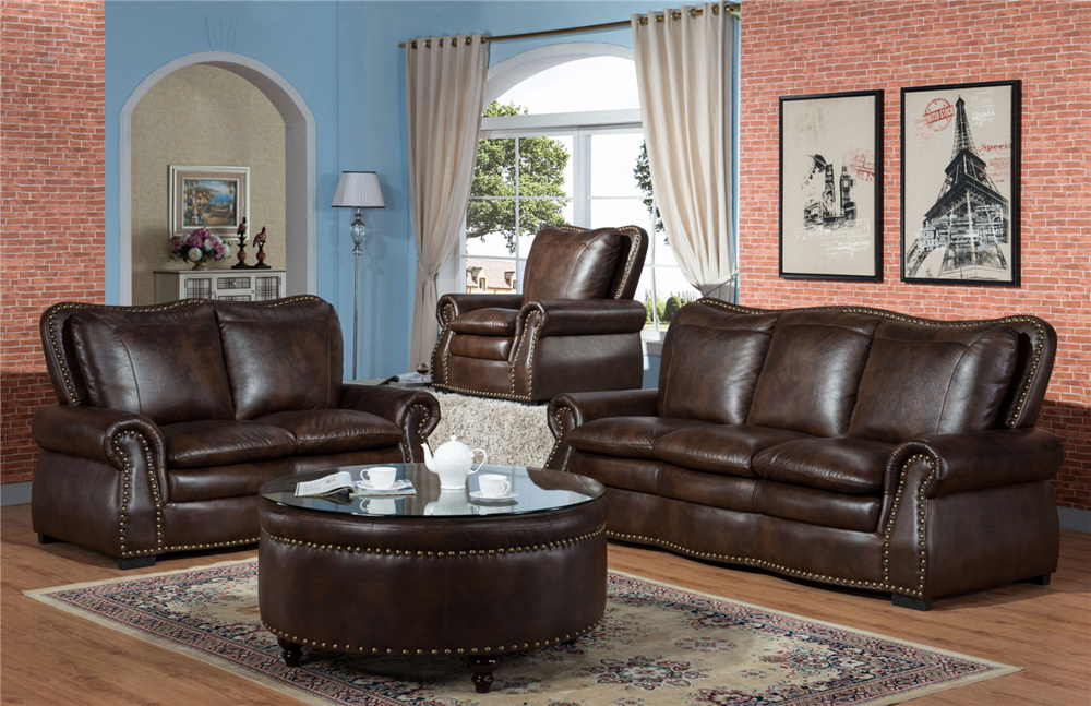 American style cheap leather sectional sofa living room furniture luxury leather sofa set
