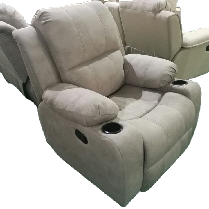Modern European Style Fabric Three Seat Reclining Set Manual Electrical 3 Seater Electric Motor Recliner Sofa With Cup Holder