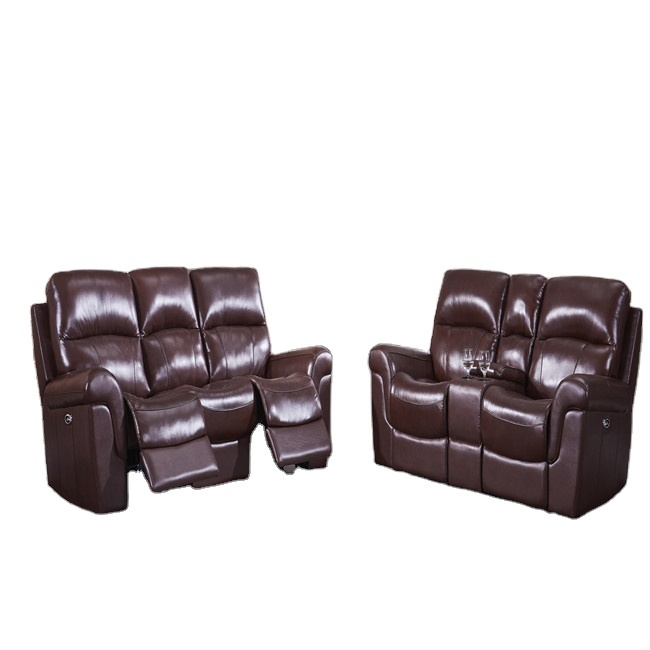 Living room furniture Contemporary Genuine brown leather Electric recliner Sofa withcup holders consoles