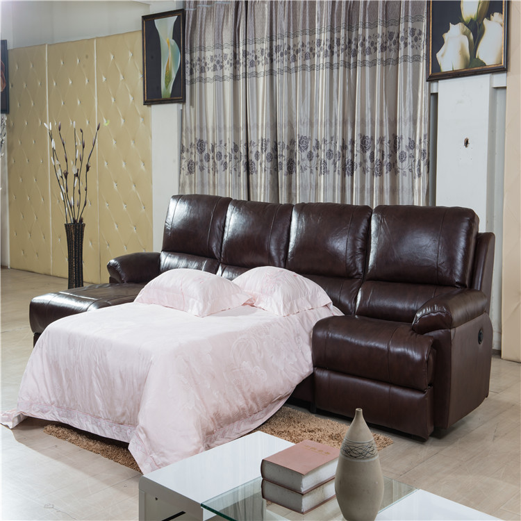 Genuine leather L shape sofa with recliner for living room