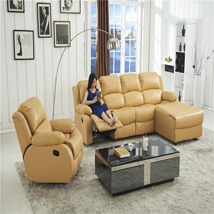 L shape leather sofa living room furniture
