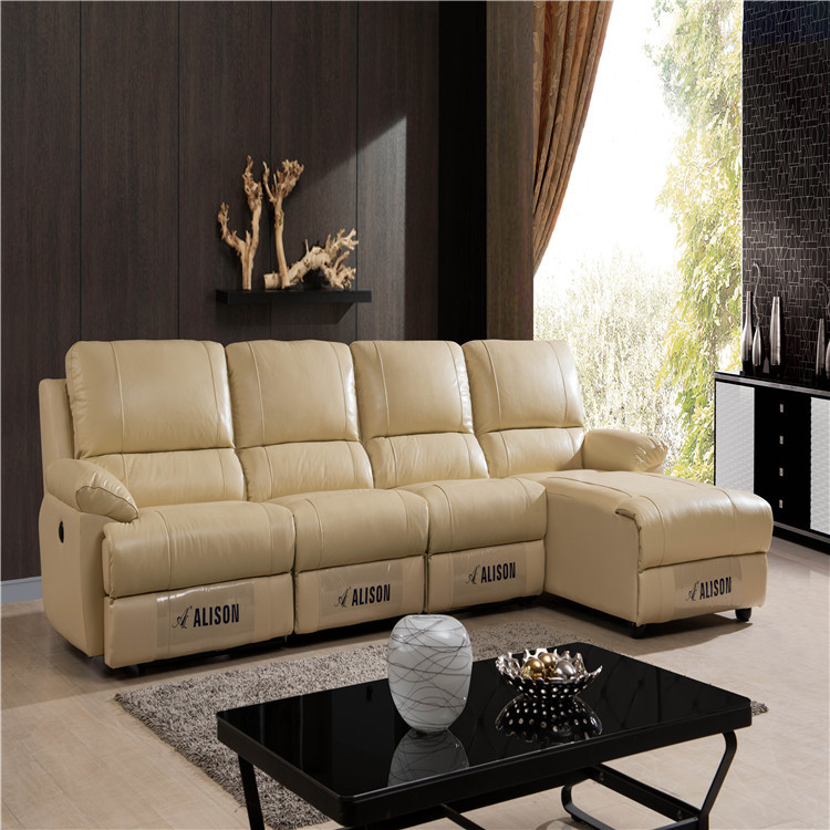 Living room furniture genuine leather L shape sofa with recliner