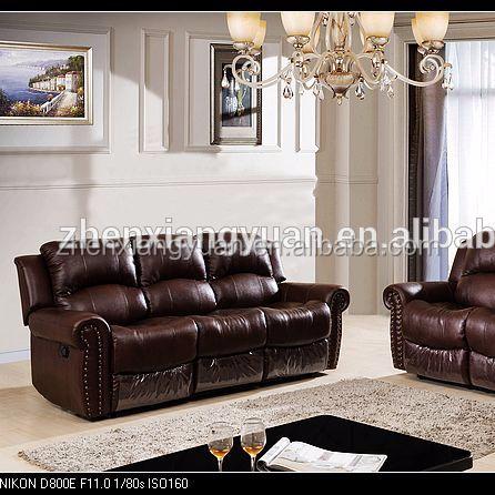 2018 Living room sofas Brown leather sofa reclining vip sofa set