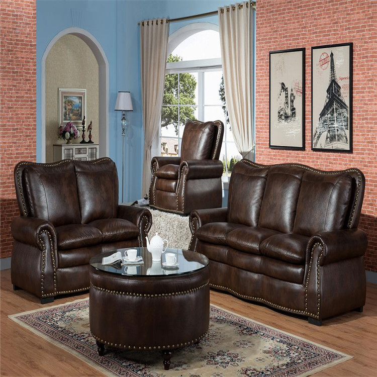 American Style Living Room Sofa Air Leather Sofa 1+2+3