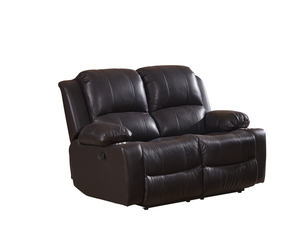 Living room furniture Contemporary Genuine leather recliner Casual 2seater with cupholder