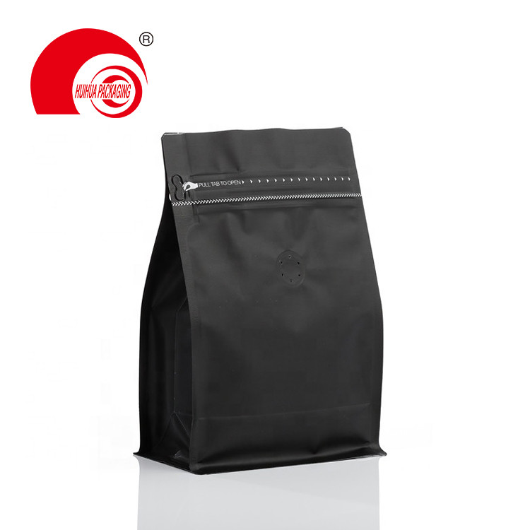 Matte Black Square Bottom Coffee Bag with One-way Degassing Valve and Tear-off Ziplock