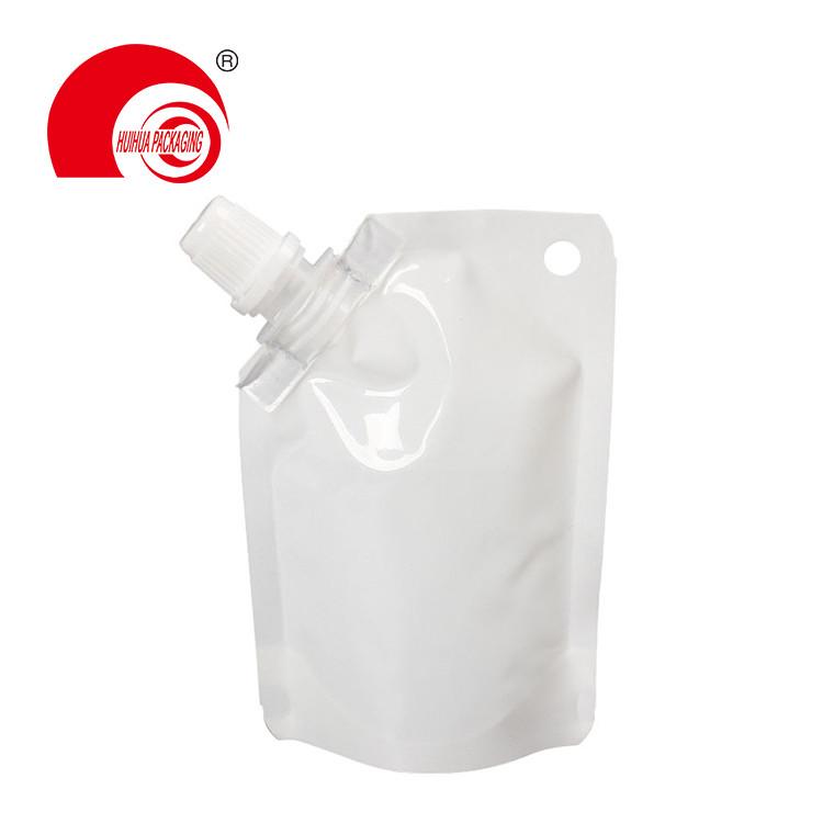 Hot Selling Aluminum Foil Vacuum White Spout Pouch Liquid Packaging Bag with Corner Nozzle Hanging Hole
