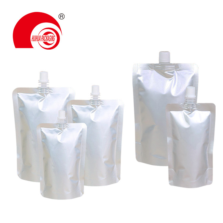 Hot Sell Various Capacity Generic Matt Silver Aluminum Foil Laminated Plastic Spout Pouch for Drinking