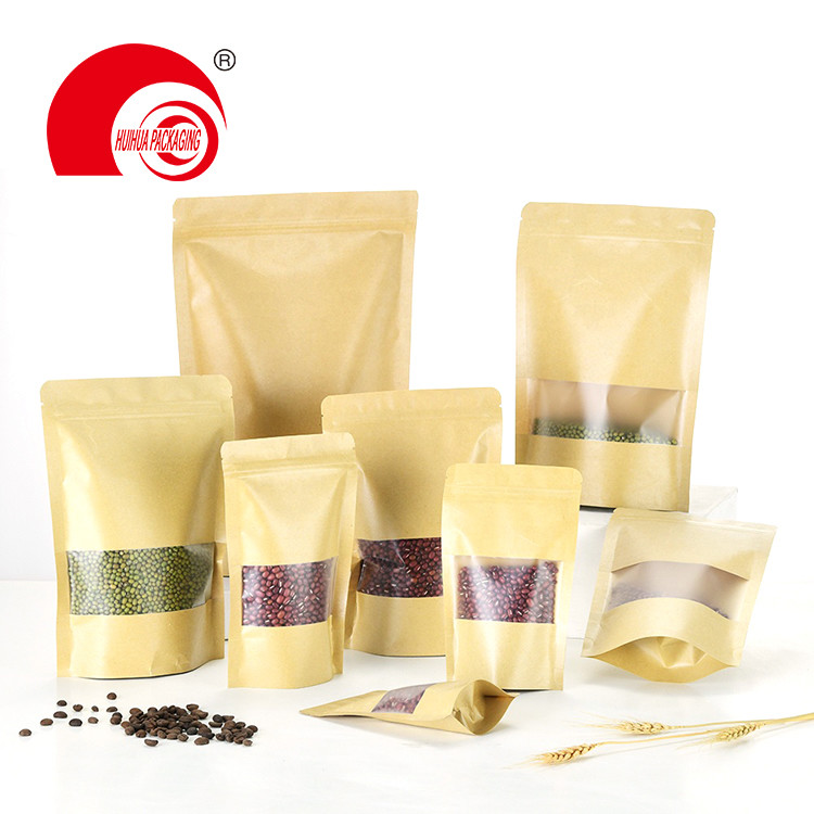 Kraft Paper Laminated Plastic Zipper FStand Up Pouch Packaging Bag with Transparent Window