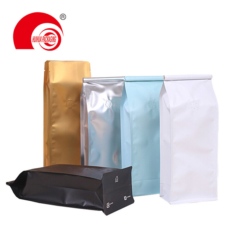 Best Quality Flat Bottom Self Stand Food Storage Bag Aluminum Foil Pouch for Coffee Tea