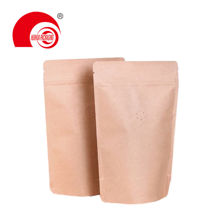 50g 1/4LBS 1/2 LBS 1LBS 2LBS Hot Sell Kraft Paper Stand Up Coffee Pouch with One-way Valve