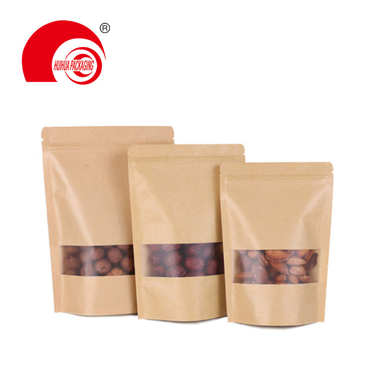 product-Huihua-Factory Wholesale Food packaging Doypack Stand Up Pouch Plain Brown Kraft Paper Bag w