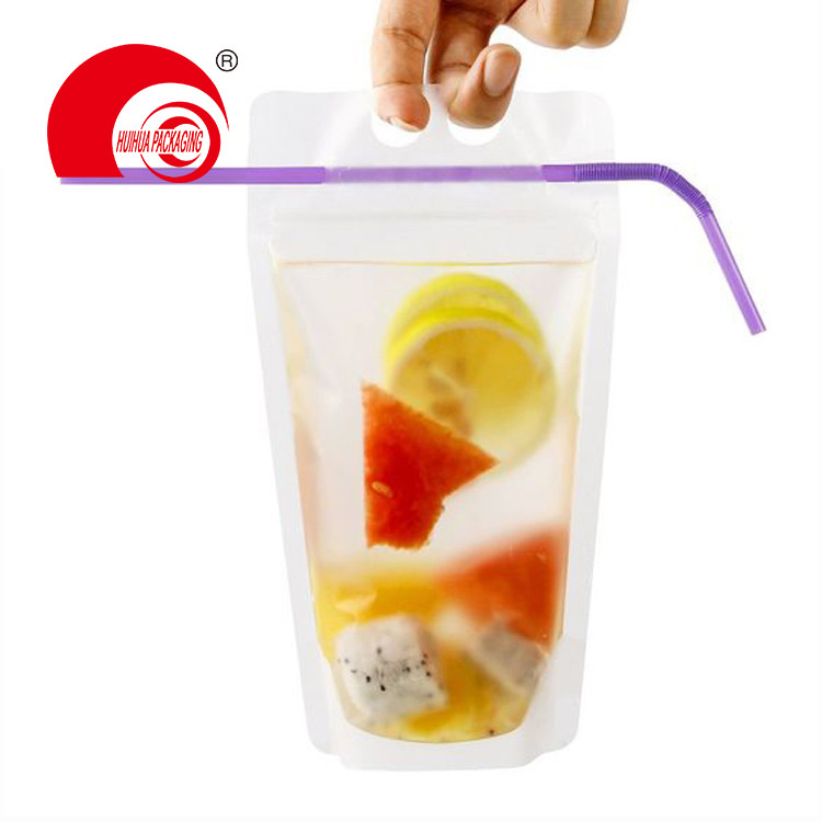 Hot Sell High Quality Clear Stand Up Pouch Laminated Plastic Bag with Handle for Liquid Drink Packaging