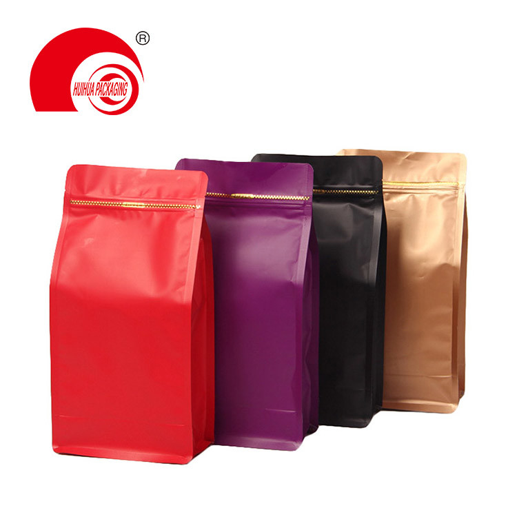 Various Color High Barrier Resealable Food Packaging Bag Flat Bottom Pouch with Ziplock