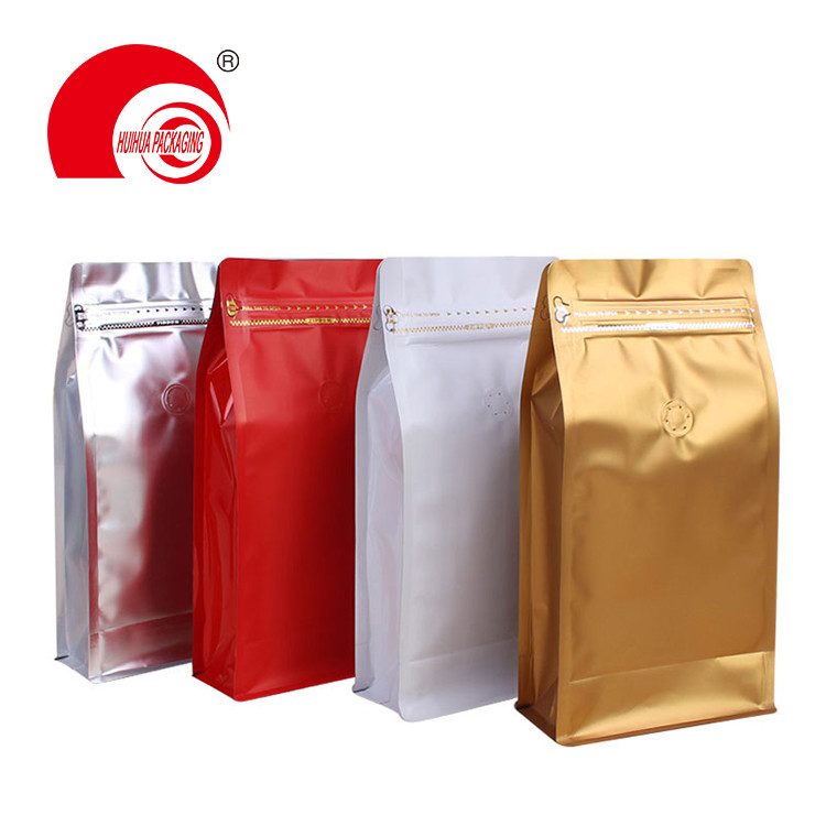 1/4LBS 1/2 LBS 1LBS 2LBS Box Bottom Coffee Tea Packaging Pouch with Degassing Valve Tear Notch