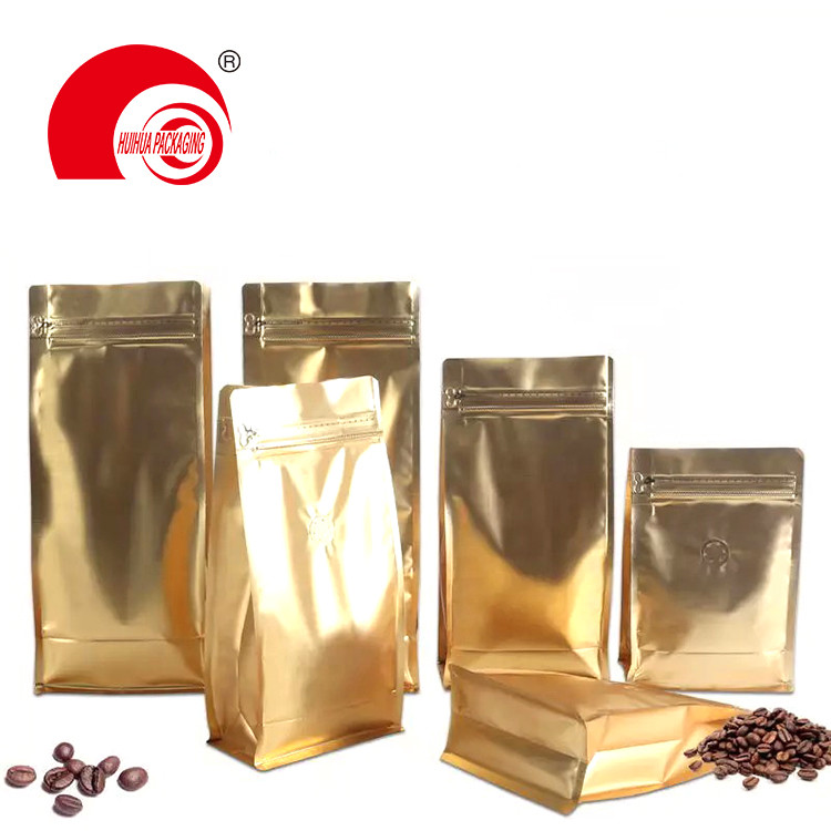 Glossy Gold Aluminum Foil Flat Bottom Pouch Coffee Bean Packaging Bag with Tear-off Zipper