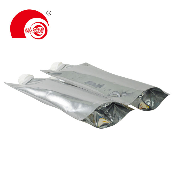 product-Food Grade Glossy Silver High Barrier Aluminum Foil Pouch with Spout for Drinking Packaging--1