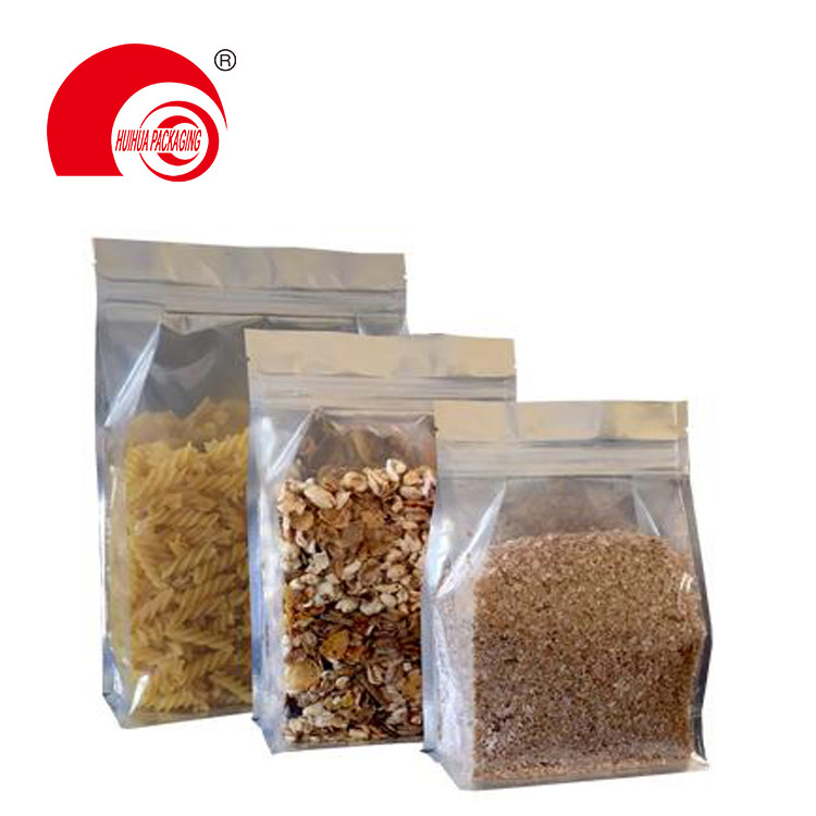 product-Huihua-Glossy Gold Aluminum Foil Flat Bottom Pouch Coffee Bean Packaging Bag with Tear-off Z