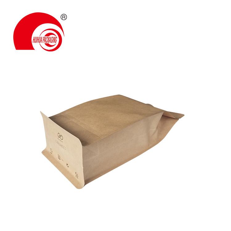 product-Huihua-Laminated Plastic Brown Kraft Paper Ziplock Flat Bottom Bag for Dry Fruit Packaging-i
